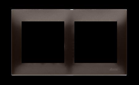 Rahmen 2fach für Hohlwanddose Gipskarton braun matt IP20/IP44 Simon 54 Premium Kontakt Simon DRK2/46