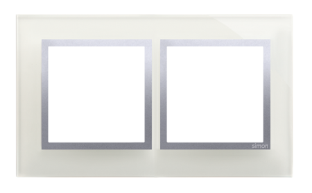 Rahmen 2fach silber glänzend Glas Kontakt Simon 54 Nature DRN2/71