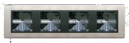 Rahmen 4fach Glas Inox/ Zwischenrahmen graphit Kontakt Simon 82 82847-37