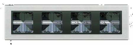 Rahmen 4fach Glas Inox matt/ Zwischenrahmen graphit Kontakt Simon 82 82847-31