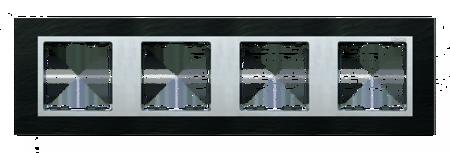 Rahmen 4fach schiefer/ Zwischenrahmen aluminium matt Kontakt Simon 82 82947-63