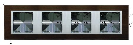 Rahmen 4fach wenge/ Zwischenrahmen aluminium matt Kontakt Simon 82 82947-65