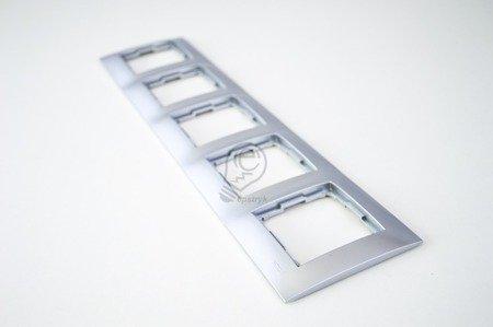 Rahmen 5fach silber matt IP20/IP44 Simon 54 Premium Kontakt Simon DR5/43