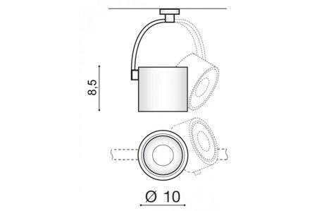 Schienenlampe Costa ARM Modern Metall, Aluminium Weiß Azzardo AZ2703