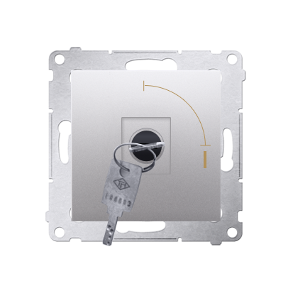 "Schlüsselschalter 1polig ""0-I"" Silber Kontakt Simon 54 Premium DW1K.01/43"