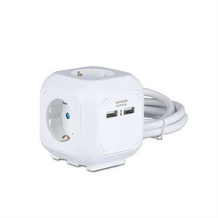Steckdosenleiste Würfel Cube weiß, 4 steckdosen + 2 USB 1.55MM 1.4M VT-1154-2 V-TAC