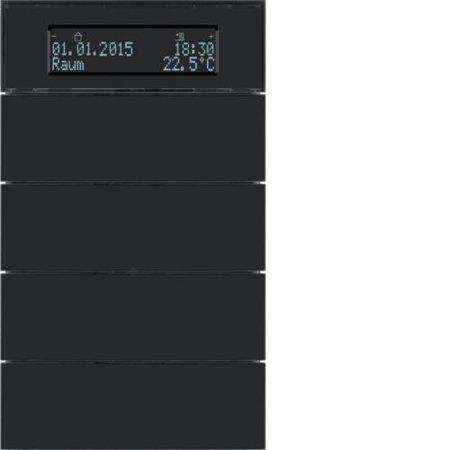 Tastsensor 4fach mit Temperaturregler und Display B.IQ Glas schwarz Hager 75664592