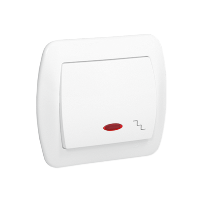 Treppentaster 1fach 10AX weiß glänzend beleuchtet Kontakt Simon AW6L/11